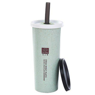 DIHE JJ0151 Copa de tapa doble de paja de trigo ambiental simple nórdico 500 ml con lechón