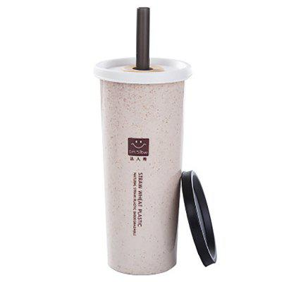 DIHE JJ0151 500ml Nordic Simple Environmental Wheat Straw Double Cover Cup with Sucker
