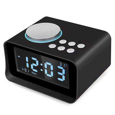 Digital Radio Bluetooth Speaker with TF Card Slot / Thermometer / Snooze LCD Display Bedroom Clock