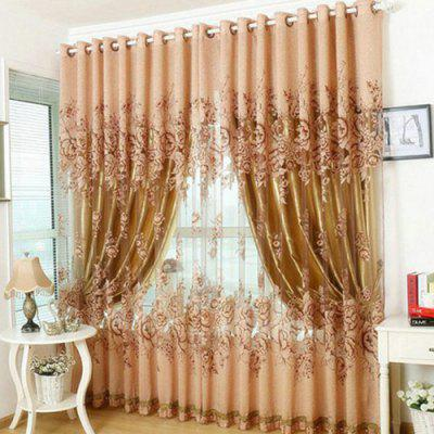 European Style High-grade Peony Semi-shading Rotten Yarn Finished Curtain
