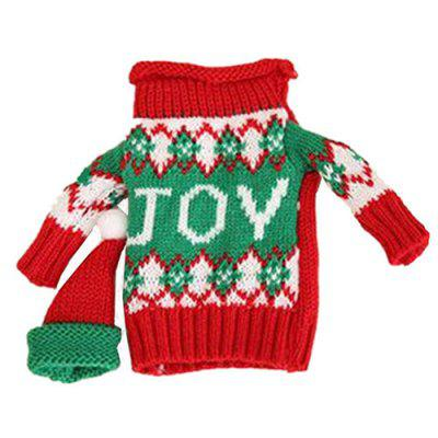 Christmas Bar Restaurant Ornament Creative Knit Sweater Hat Wine Bottle Cover