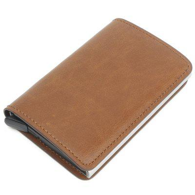 Men Leisure Card Holder Automatic Pop-up Leather