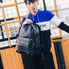 Backpack Men's Travel Bag Fashion Trend Leather Casual Computer Student - BLACK