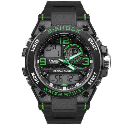 SMAEL 1603 Men Sports Fashion Dial Waterproof Watch LED + Quartz Dual Movement with Box