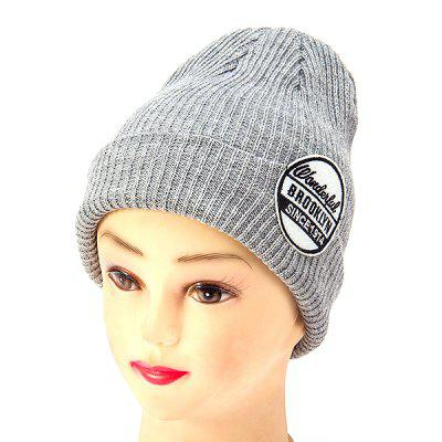 Winter Female Knitted Letter Labeling Wool Pointed Cap