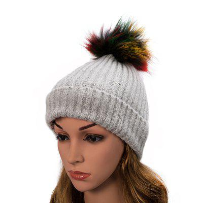 Wool Raccoon Fur Ball Cap