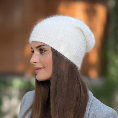 Long Rabbit Fur Solid Color Warm Knitted Cap