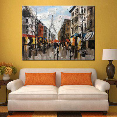 Mintura MT161083 Pure Hand-painted Frameless Modern Abstract Decorative Knife Painting Streetscape Architecture Oil Painting