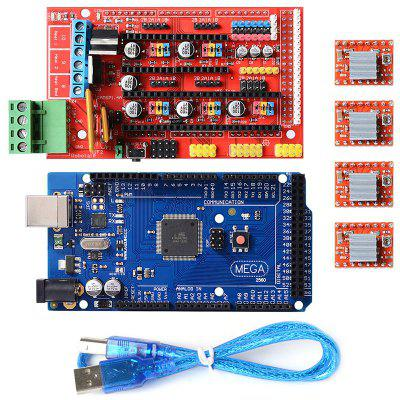 3D Printer RAMPS 1.4 Controller MEGA2560 R3 A4988 with Heat Sink Kit Reprap - SCLL
