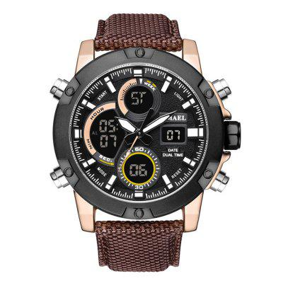 SMAEL 1325 Outdoor Sports Waterproof Leather Multi-function Quartz Watch