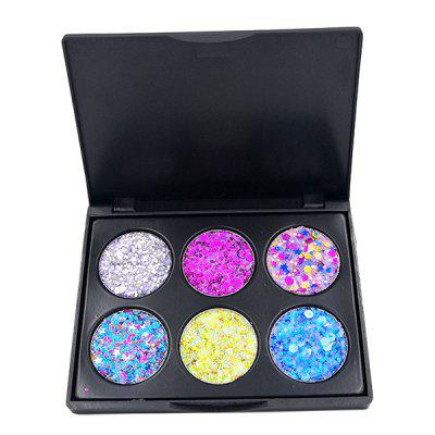 POPFEEL EK06 EK07 6-Color Brokat Cekiny Oczu Naklejki Makeup Powder