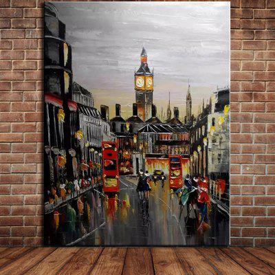 Mintura MT161081 Pure Hand-painted Frameless Modern Abstract Decorative Knife Streetscape Architecture Oil Painting