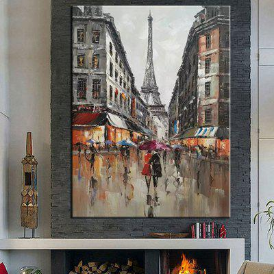 Mintura MT161080 Pure Hand-painted Frameless Modern Abstract Decorative Knife Painting Streetscape Architecture Oil Painting