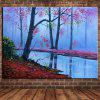 Mintura Hand-painted Oil Painting Frameless Modern Abstract Decorative Riverside Woods Landscape - MULTI-A