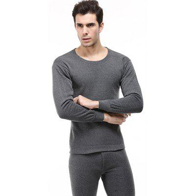 Winter Underwear Men Clothing Plus Velvet Thick Slim Round Neck