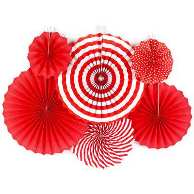 Fan Flower Wall Mall Shop Opening Background Layout Birthday Party Decoration 6pcs