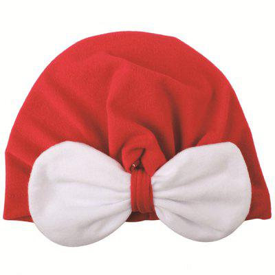 Christmas Contrast Bow Knotted Baby Hat Hooded Hat