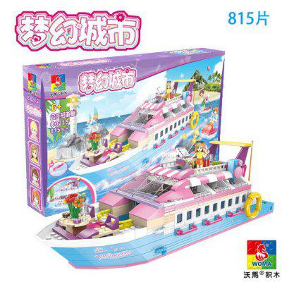 Woma Girl Series Fantasy City Scene Puzzle Spell Insert Small Particles Children Building Blocks Toys