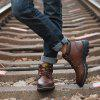 Men Skid-proof Wear-resistant Fashionable High-top Shoes - DEEP BROWN
