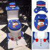 Christmas Home Decorations Hat Snowman Bathroom Three-piece - BLUE
