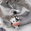 Q Version Cows LED Sounding Light Key Ring Flashlight Bag Car Small Pendant - WHITE
