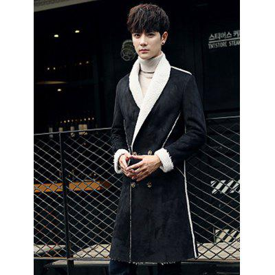 Men's Suede Youth Slim Long Trench Coat