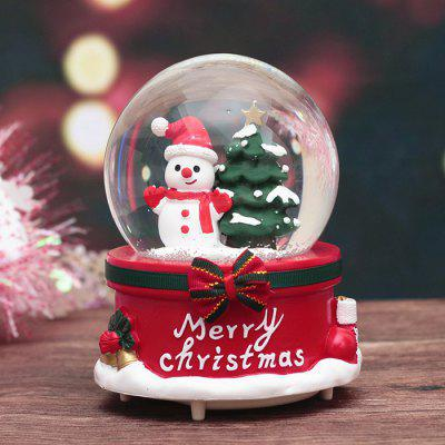 Creative Home Decoration Ornaments with Lights Snow Christmas Bow Crystal Ball Music Box