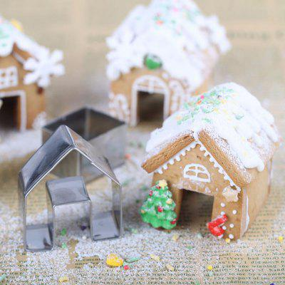 Cute Christmas Small House Pattern Cookie Mold 3pcs