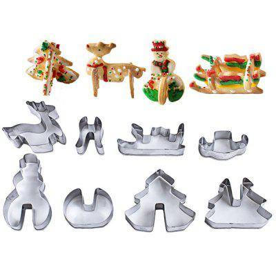 Stainless Steel Cookie Cutter 8 Piece Set 3D Christmas Three-dimensional Cake Mold