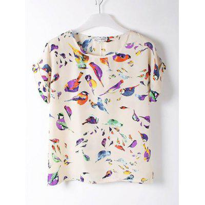 Bird Print Chiffon Short Sleeve T-shirt