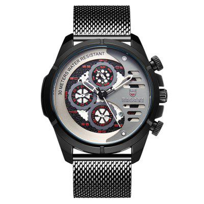BAGARI 1822W Three-eye Six Stitches Men's Multifunction Calendar Waterproof Quartz Watch