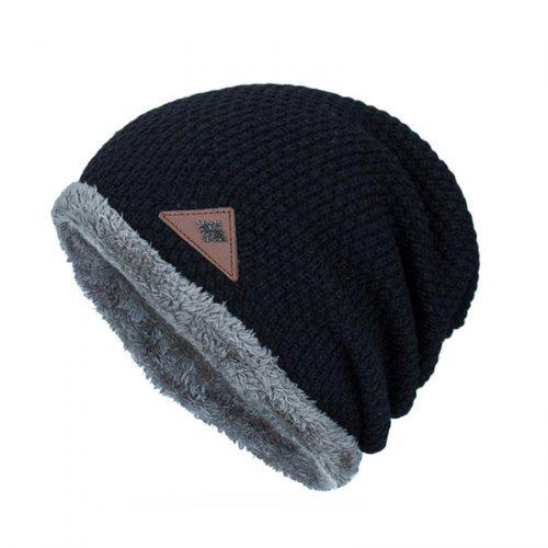 Winter Knitted Brushed Warm Snowflake Leather Standard Men s Outdoor Hat -   7.70 Free Shipping 6afe69be590c