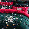 Contrast Color Christmas Wind Embroidery Autumn Winter Warm Cotton Sanding Bedding Set 160x210 - DEEP GREEN