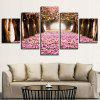 Quintuplet Decorative Oil Painting Beautiful Cherry Blossom Forest 5pcs - MULTI