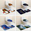 Christmas Floor Mat Set Toilet Seat Pad Bathroom Anti-slip Carpet - MULTI-C