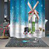 Christmas Print Waterproof Breathable Bathroom Partition Shower Curtain - MULTI-A