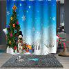 Christmas Print Pattern Breathable Waterproof Mildew Bathroom Partition Shower Curtain - MULTI-B
