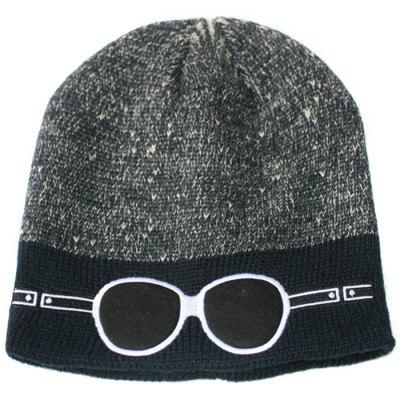 Embroidered Two-color Glasses Knit Cap