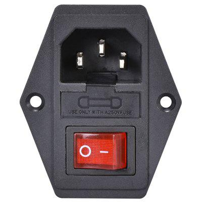 15A 250V 3pin AC Power Socket with Red Triple Rocker Switch