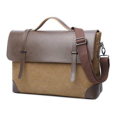 Liyongyi Canvas Leather Shoulder Bag Pure Color