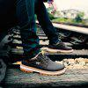 Men Stylish Casual Leather Shoes Comfortable Lace-up - BLACK