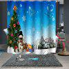 Waterproof Breathable Mildew Christmas Print Pattern Bathroom Partition Shower Curtain - MULTI-A