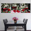 Triple Decorative Oil Painting Rose with Mellow Red Wine - MULTI