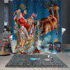 Stylish Christmas Print Pattern Waterproof Breathable Mildew Bathroom Partition Shower Curtain - MULTI-B