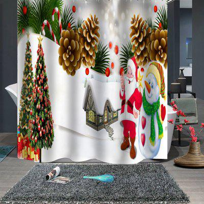 Stylish Christmas Print Waterproof Breathable Bathroom Partition Shower Curtain