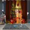Practical Christmas Print Waterproof Breathable Bathroom Partition Shower Curtain - MULTI-A