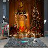 Fashionable Christmas Print  Waterproof Breathable Bathroom Partition Shower Curtain - MULTI-A