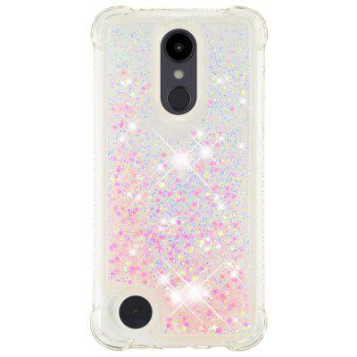 Silver Powder Pentagonal Heart Soft Shatter-resistant Transparent Protective Shell for LG Aristo 2