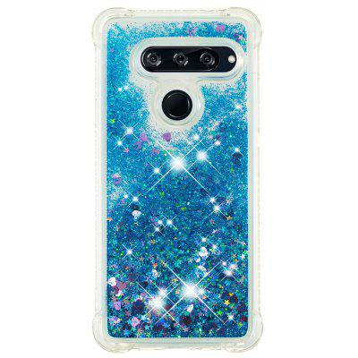 Blue Small Love Full Soft Anti-drop Transparent Protective Phone Case for LG V40