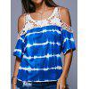 Women's T-shirt Casual Off-shoulder Striped Print Lace Stitching - BLUE